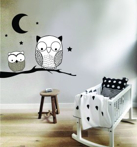 Stickers hiboux au clair de lune